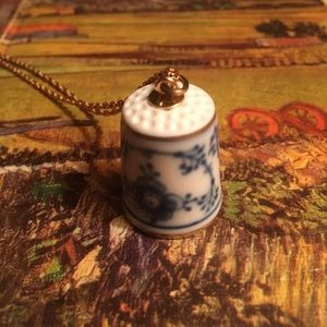 Vintage Porcelain Thimble Bing & Grøndahl Necklace